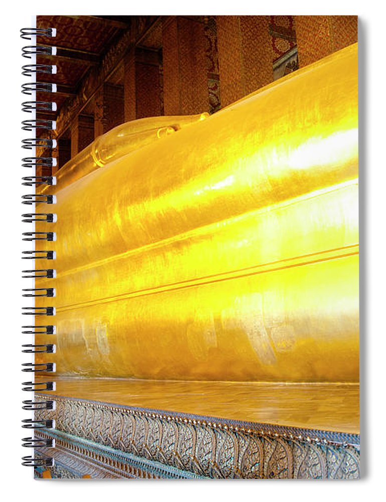 Statue Spiral Notebook featuring the photograph Reclining Buddha, Wat Pho by Leontura