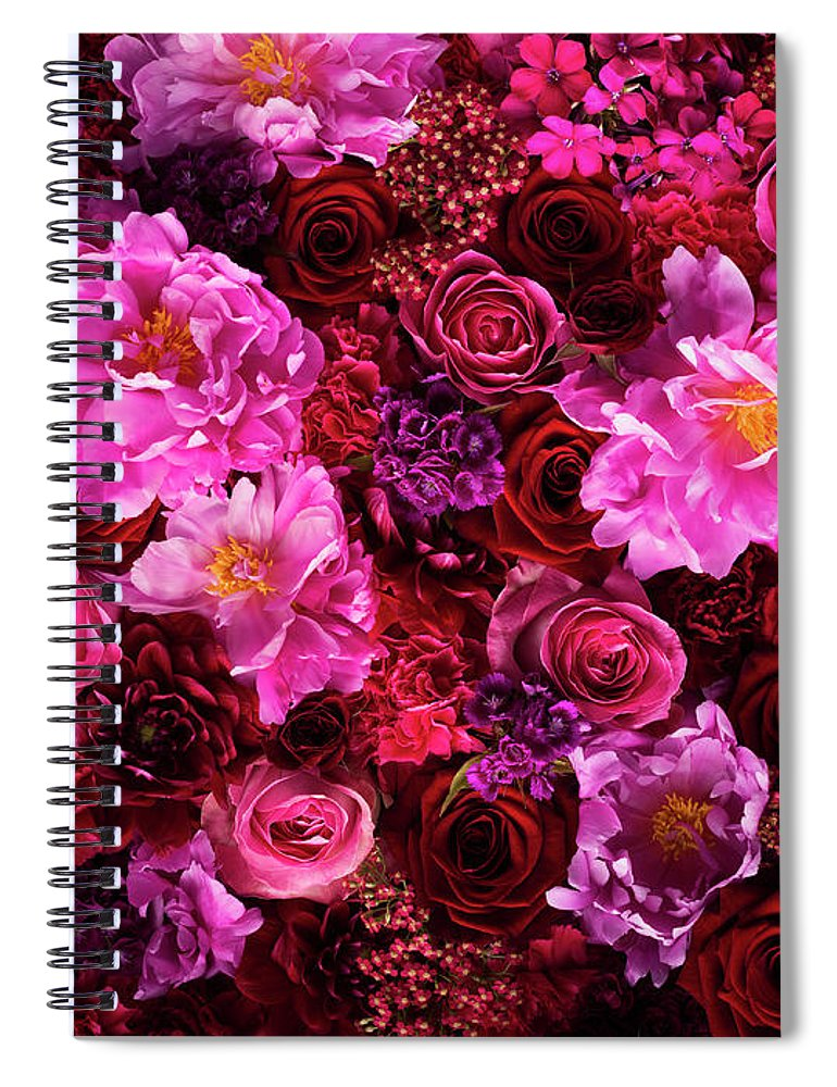 Tranquility Spiral Notebook featuring the photograph Red And Pink Cut Flowers, Close Up by Jonathan Knowles