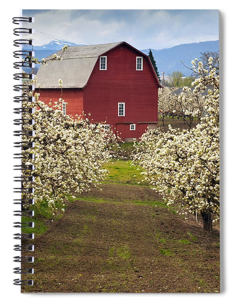 Barn Spiral Notebook featuring the photograph Red Barn Spring by Mike Dawson