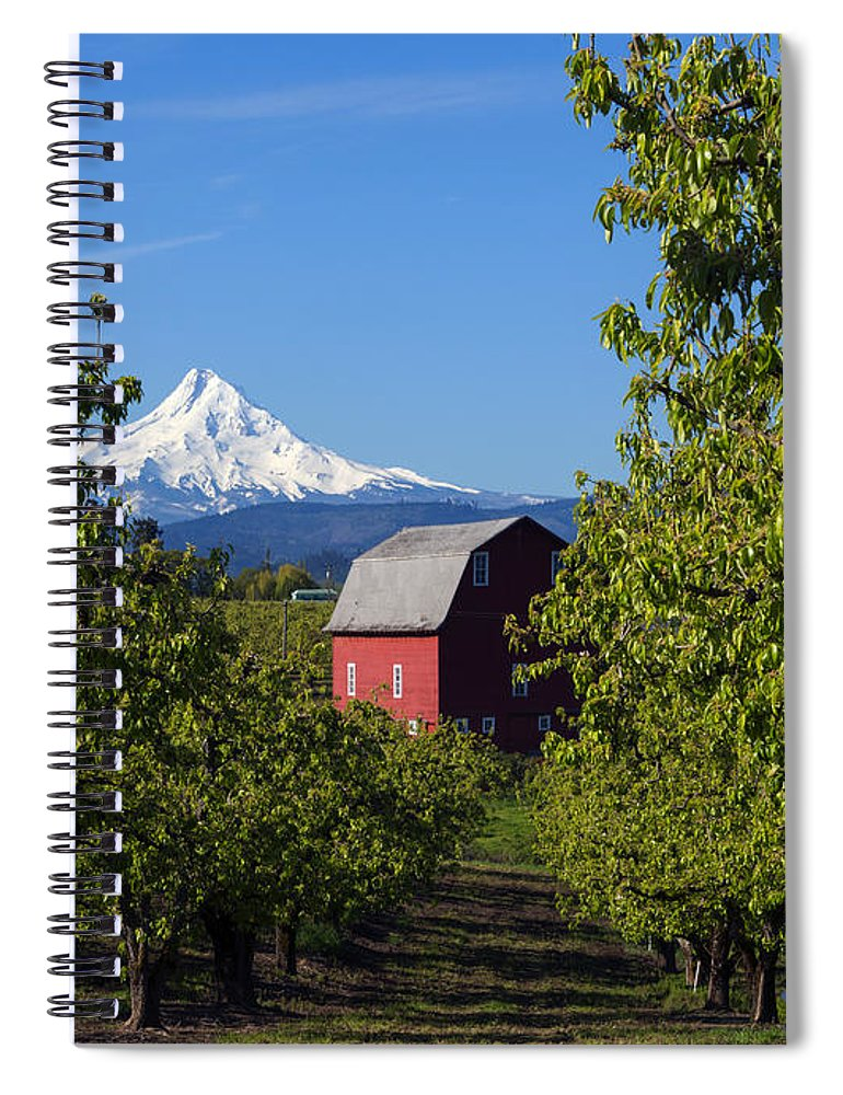 Mt. Hood Spiral Notebook featuring the photograph Red Barn View by Mike Dawson