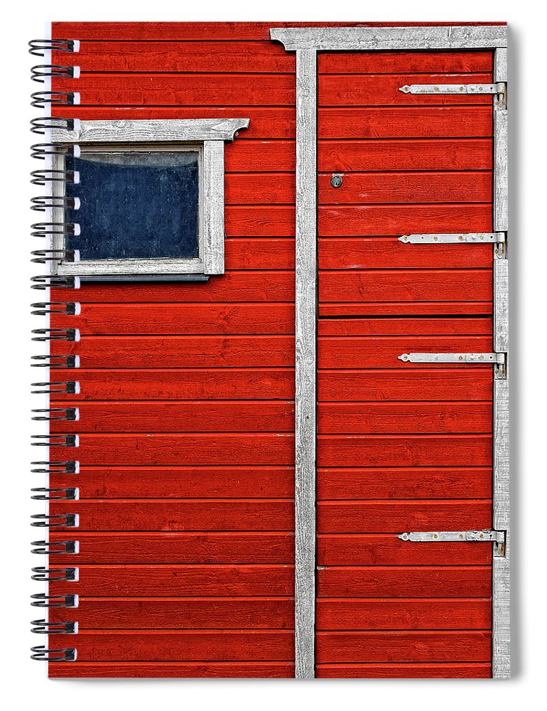 Built Structure Spiral Notebook featuring the photograph Red Door And Window With White Frames - by Makasu