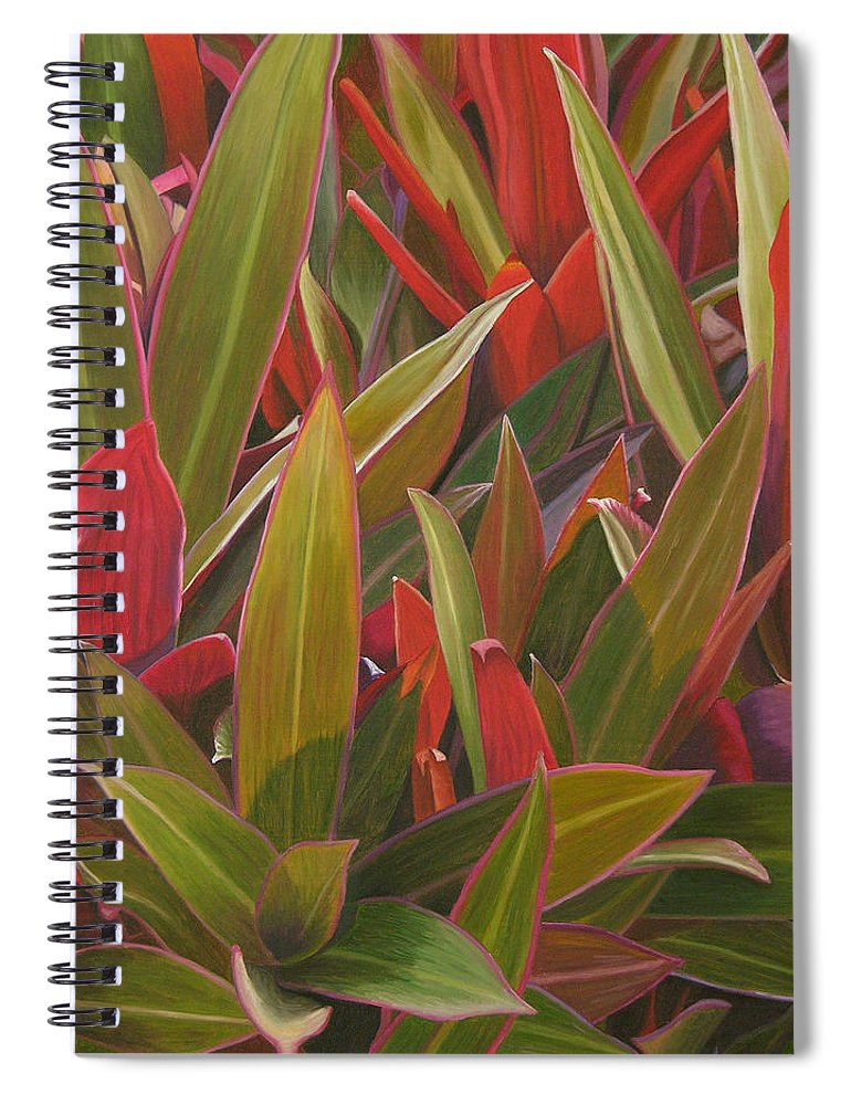 Plants Spiral Notebook featuring the painting Red Green And Purple by Thu Nguyen