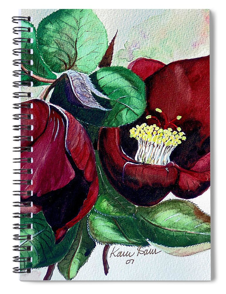 Red Helleborous Painting Flower Painting  Botanical Painting Watercolor Painting Original Painting Floral Painting Flower Painting Red Painting  Greeting Painting Spiral Notebook featuring the painting Red Helleborous by Karin Dawn Kelshall- Best