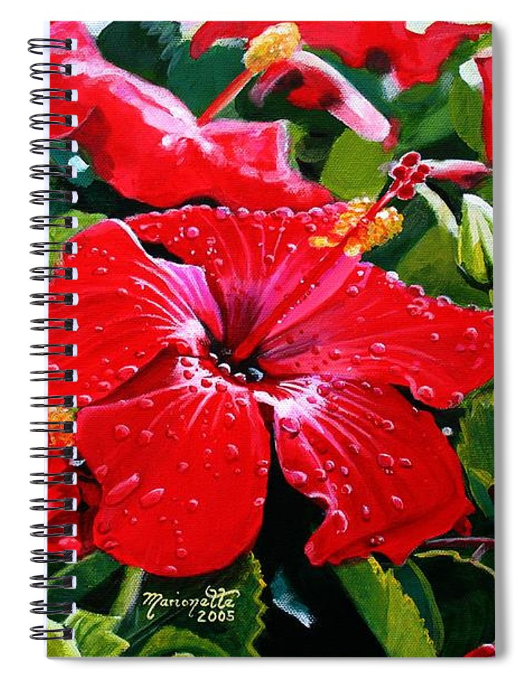Red Hibiscus Spiral Notebook featuring the painting Red Hibiscus by Marionette Taboniar