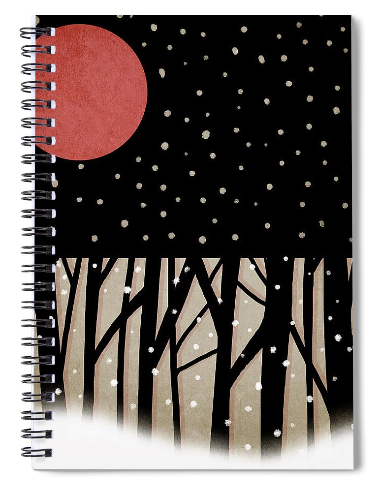 Red Spiral Notebook featuring the photograph Red Moon and Snow by Carol Leigh