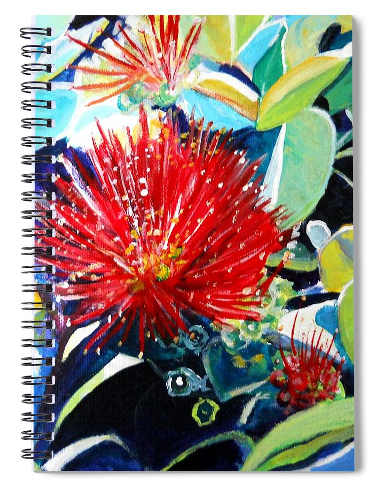 Hawaiian Flower Spiral Notebook featuring the painting Red Ohia Lehua Flower by Marionette Taboniar