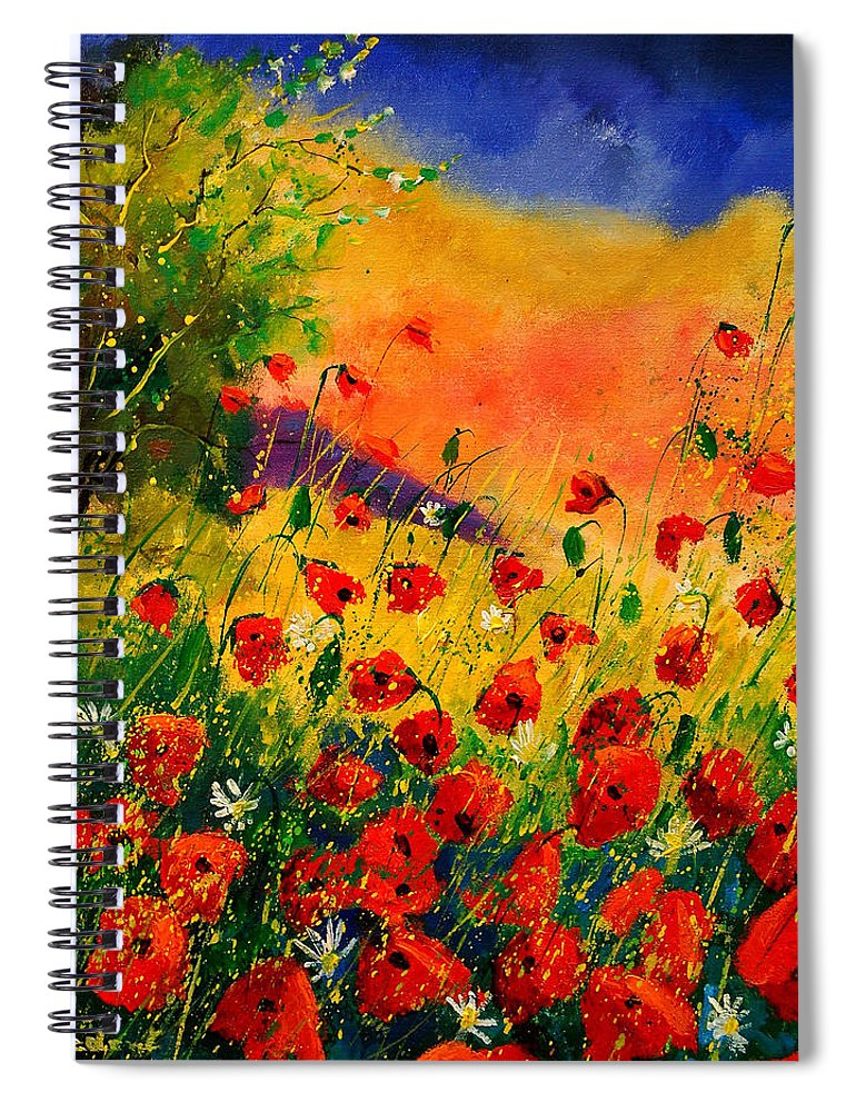 Poppies Spiral Notebook featuring the painting Red Poppies 45 by Pol Ledent
