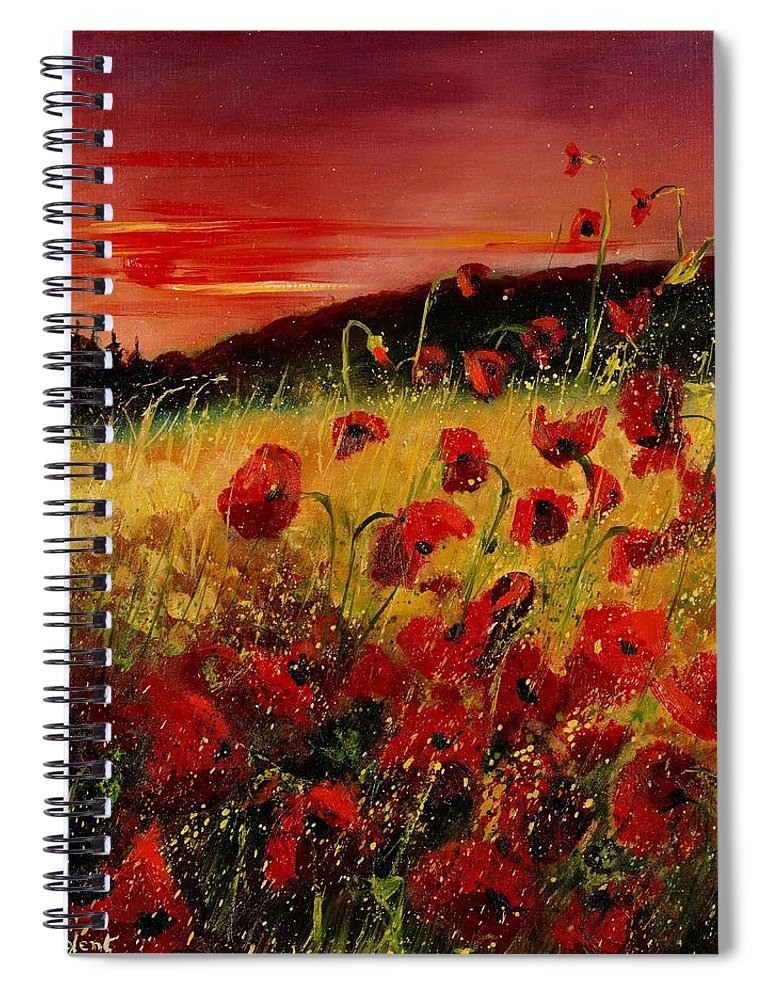 Poppies Spiral Notebook featuring the painting Red poppies and sunset by Pol Ledent
