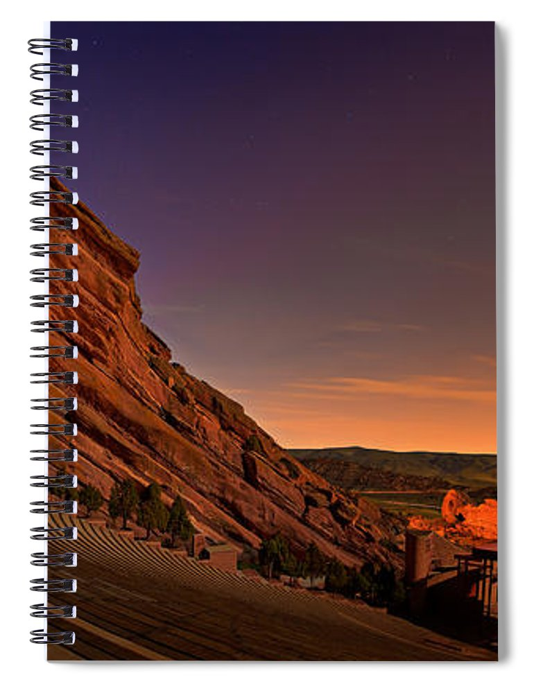 Night Spiral Notebook featuring the photograph Red Rocks Amphitheatre At Night by James O Thompson