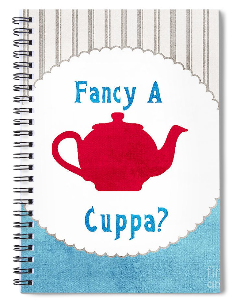 Tea Spiral Notebook featuring the painting Red Teapot by Linda Woods
