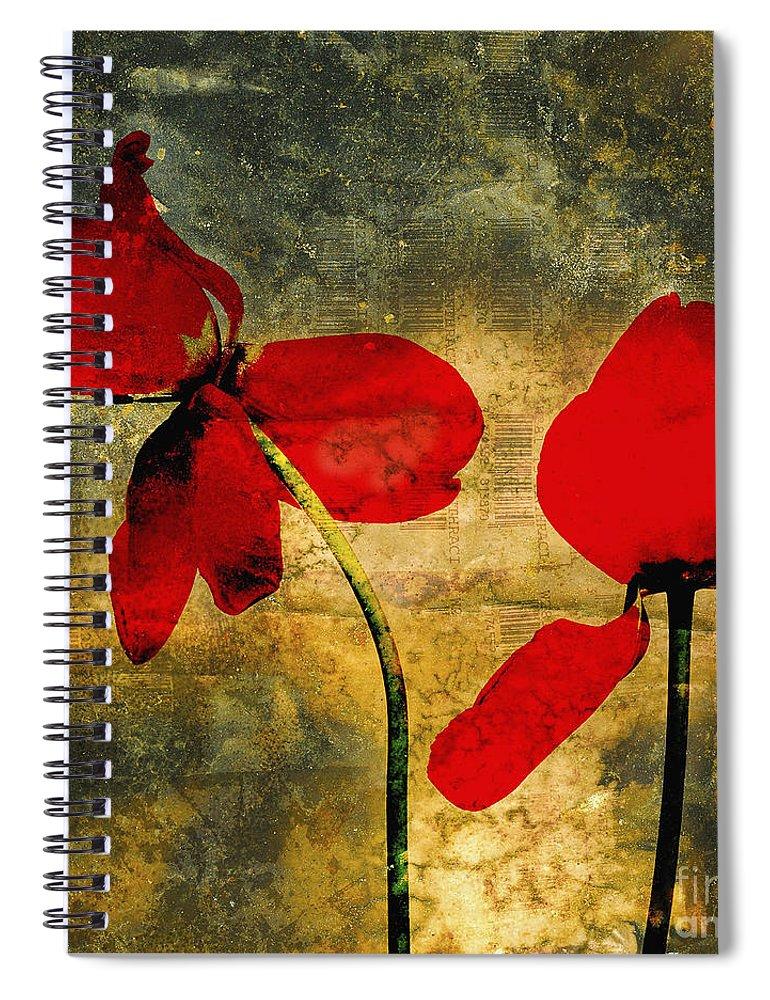 Studio Shot Spiral Notebook featuring the photograph Red Tulips On A Textured Background by Bernard Jaubert