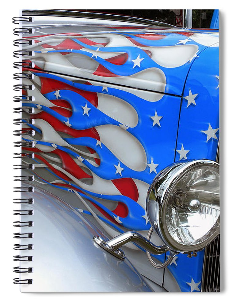 Red White And Blue Auto Sales >> Red White And Blue Flames Spiral Notebook