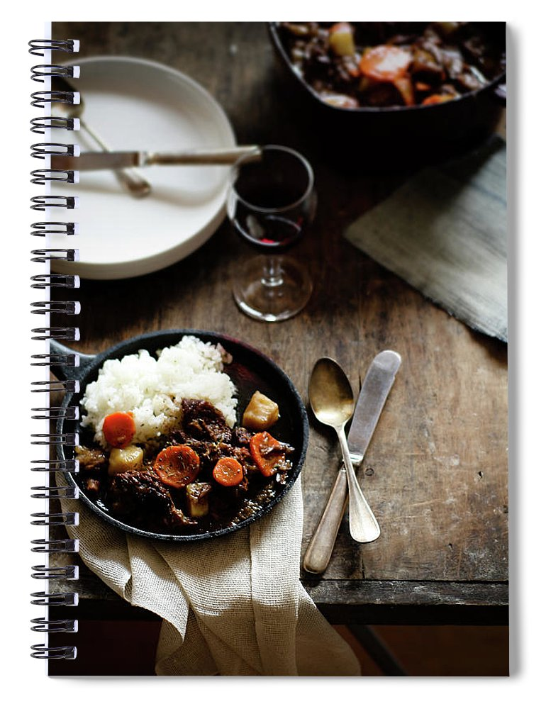 Spoon Spiral Notebook featuring the photograph Red Wine Braised Beef by 200