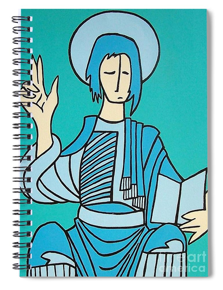 Christ Spiral Notebook featuring the painting Religious by Thomas Valentine