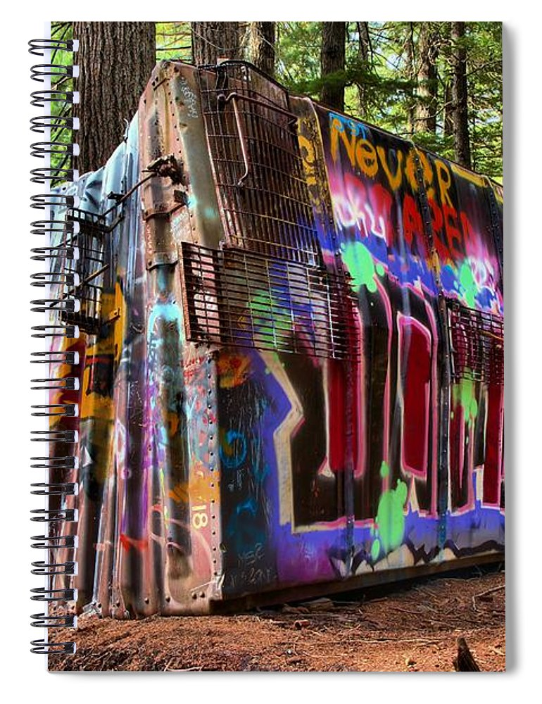 Train Wreck Spiral Notebook featuring the photograph Remnants Of The Whister Train Wreck by Adam Jewell