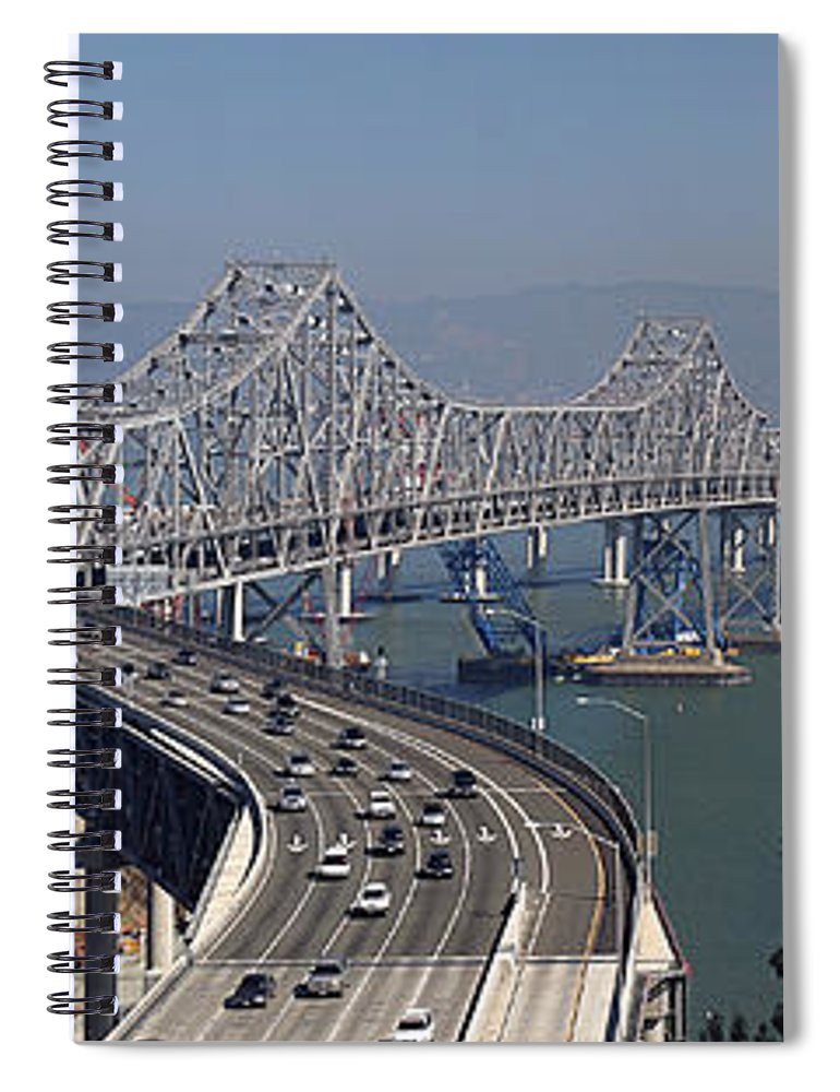 Eastern Spiral Notebook featuring the photograph Replacement Of The Easter Span San Francisco Oakland Bay Bridge From Yerba Buena Island Oct 9th 2011 by California Views Archives Mr Pat Hathaway Archives