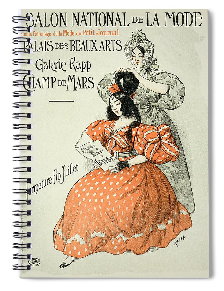Advert Spiral Notebook featuring the drawing Reproduction Of A Poster Advertising by Roedel