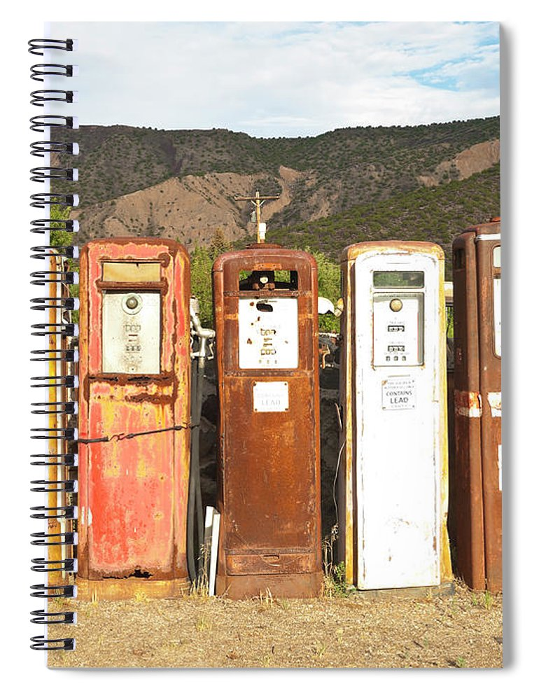 Home Decor Spiral Notebook featuring the photograph Retro Gas Pumps In Outdoor Museum Nm by Helovi