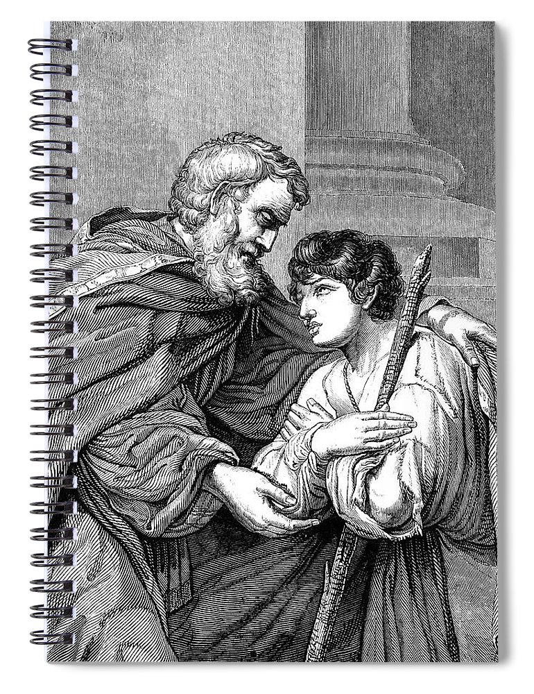 Engraving Spiral Notebook featuring the digital art Return Of The Prodigal Son Victorian by Whitemay