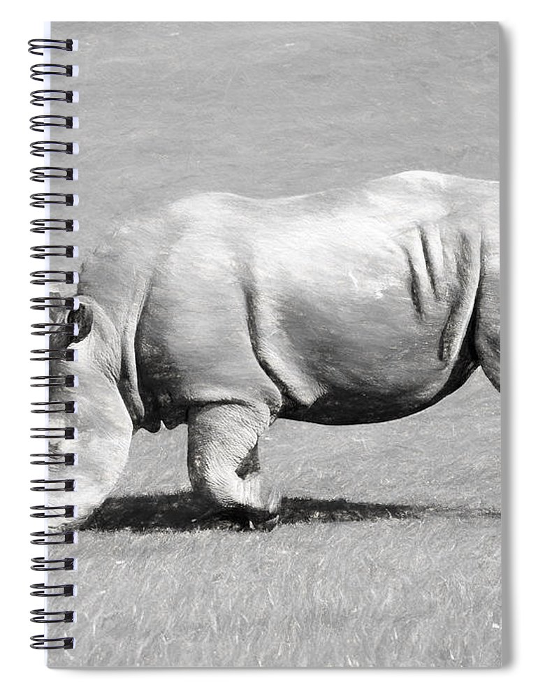 Africa Spiral Notebook featuring the digital art Rhinoceros Charcoal Drawing by Roy Pedersen
