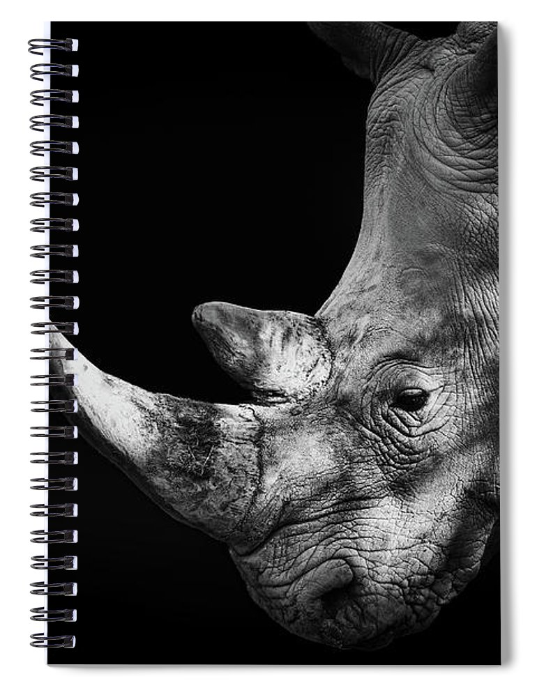 Horned Spiral Notebook featuring the photograph Rhinoceros by Malcolm Macgregor