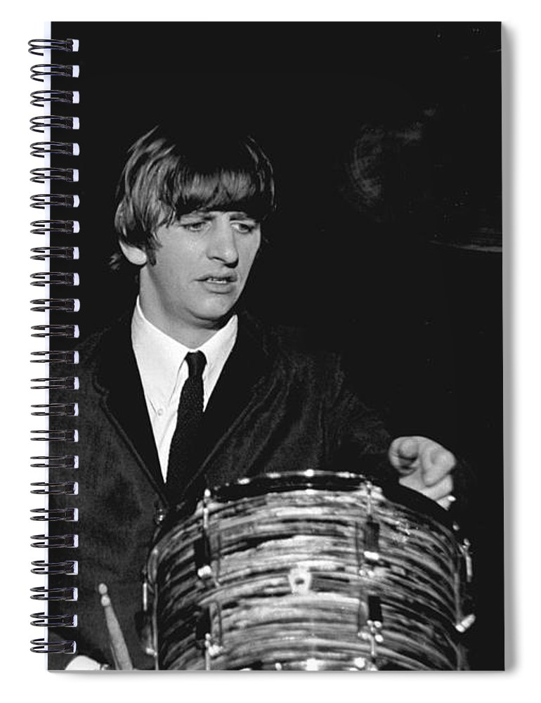 Beatles Spiral Notebook featuring the photograph Ringo Starr, Beatles Concert, 1964 by Larry Mulvehill