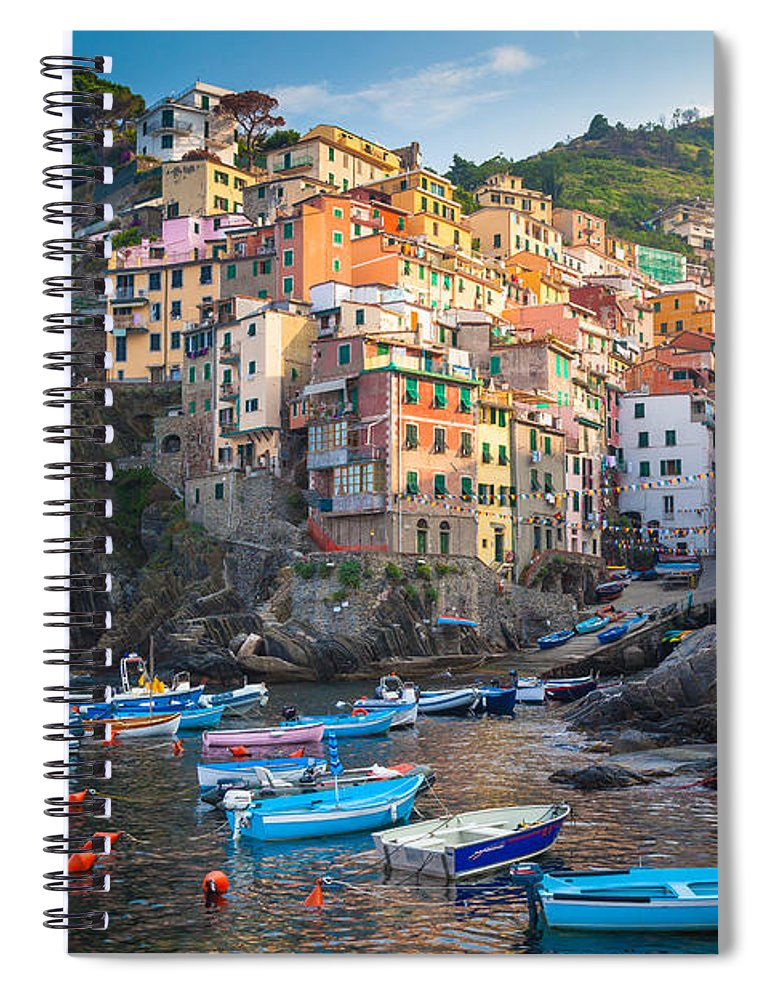 Cinque Terre Spiral Notebook featuring the photograph Riomaggiore Boats by Inge Johnsson