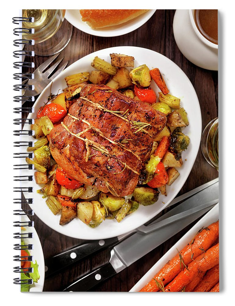 Gravy Spiral Notebook featuring the photograph Roasted Pork Loin Roast Dinner by Lauripatterson