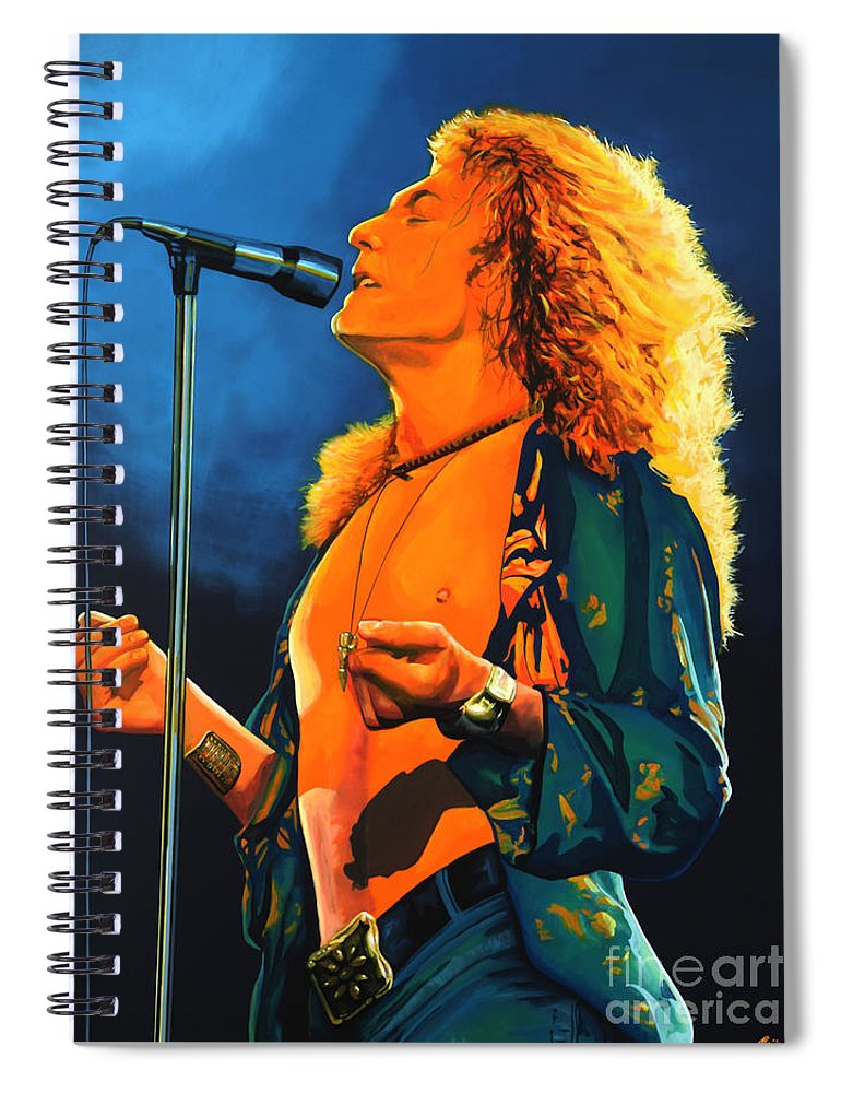 Robert Plant Spiral Notebook featuring the painting Robert Plant by Paul Meijering