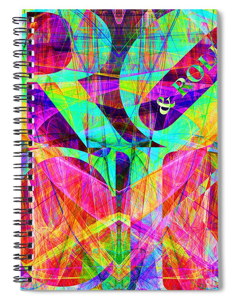 Abstract Spiral Notebook featuring the digital art Rock And Roll 20130708 Fractal by Wingsdomain Art and Photography