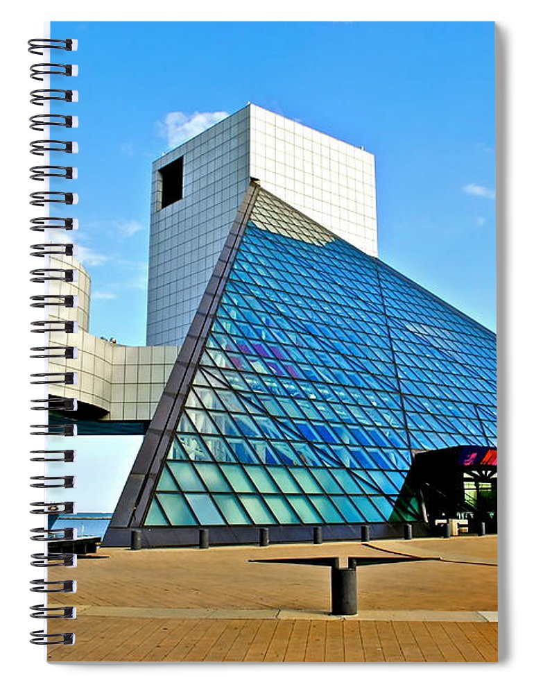 Rock Spiral Notebook featuring the photograph Rock n Roll Hall of Fame by Frozen in Time Fine Art Photography