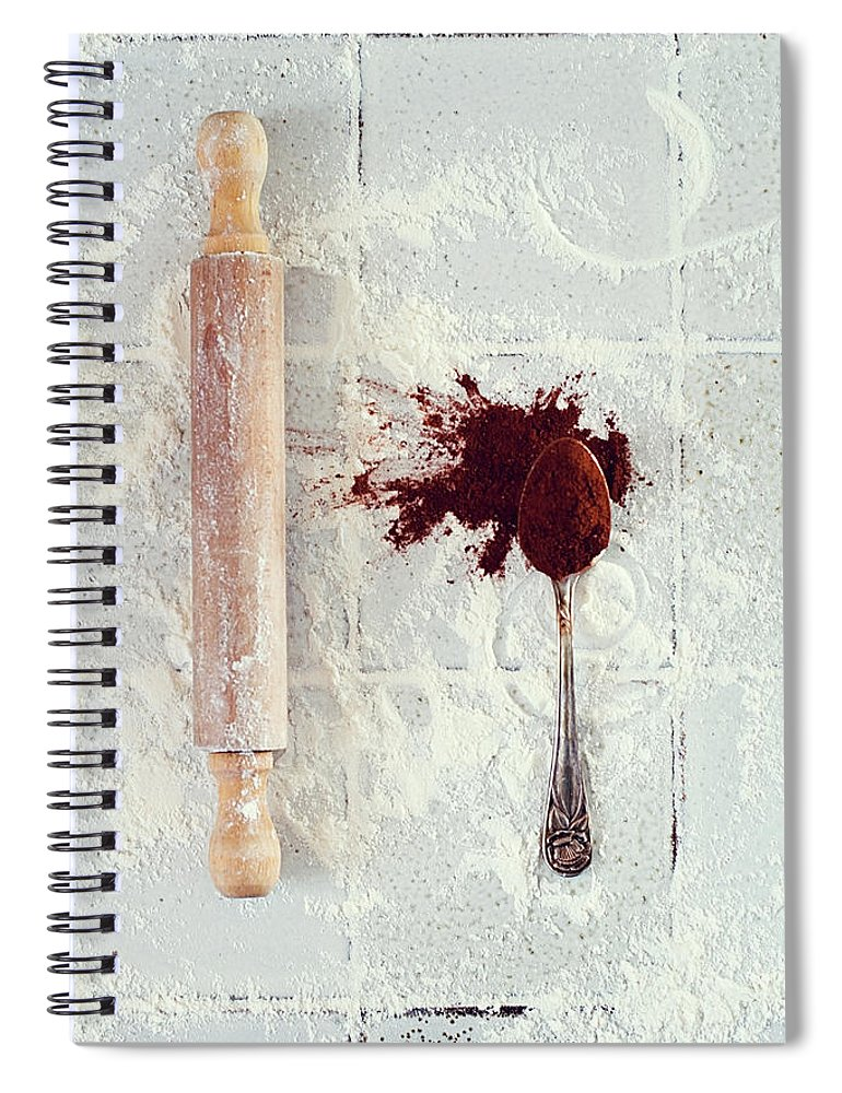 Rolling Pin Spiral Notebook featuring the photograph Rolling Pin, Teaspoon, Flour And Cocoa by One Girl In The Kitchen