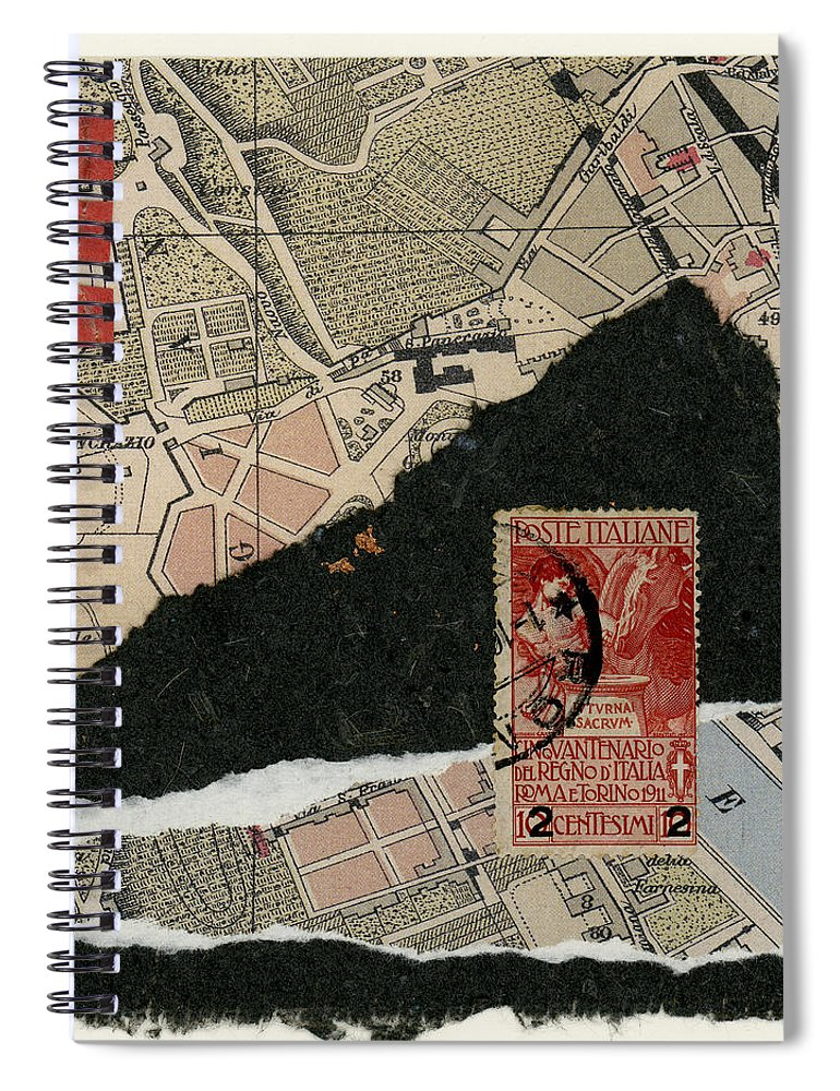 Rome Spiral Notebook featuring the photograph Roman Map Collage by Carol Leigh