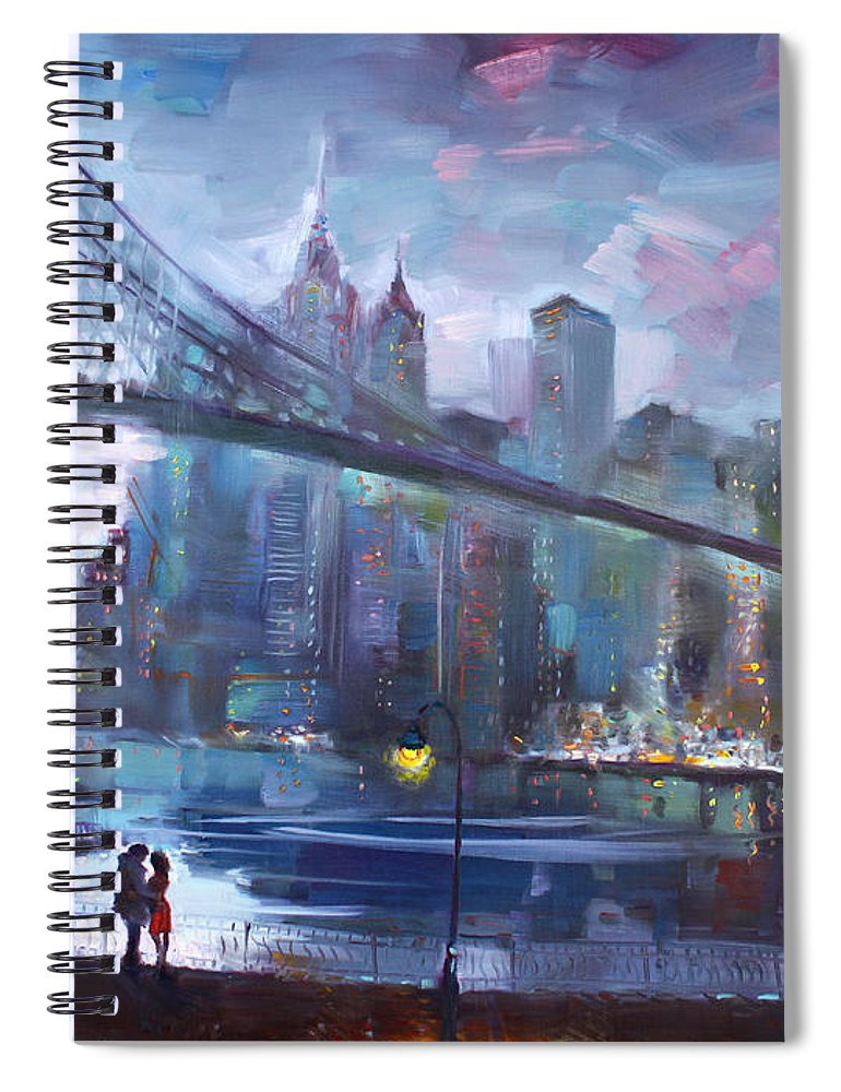 Romance Spiral Notebook featuring the painting Romance By East River II by Ylli Haruni