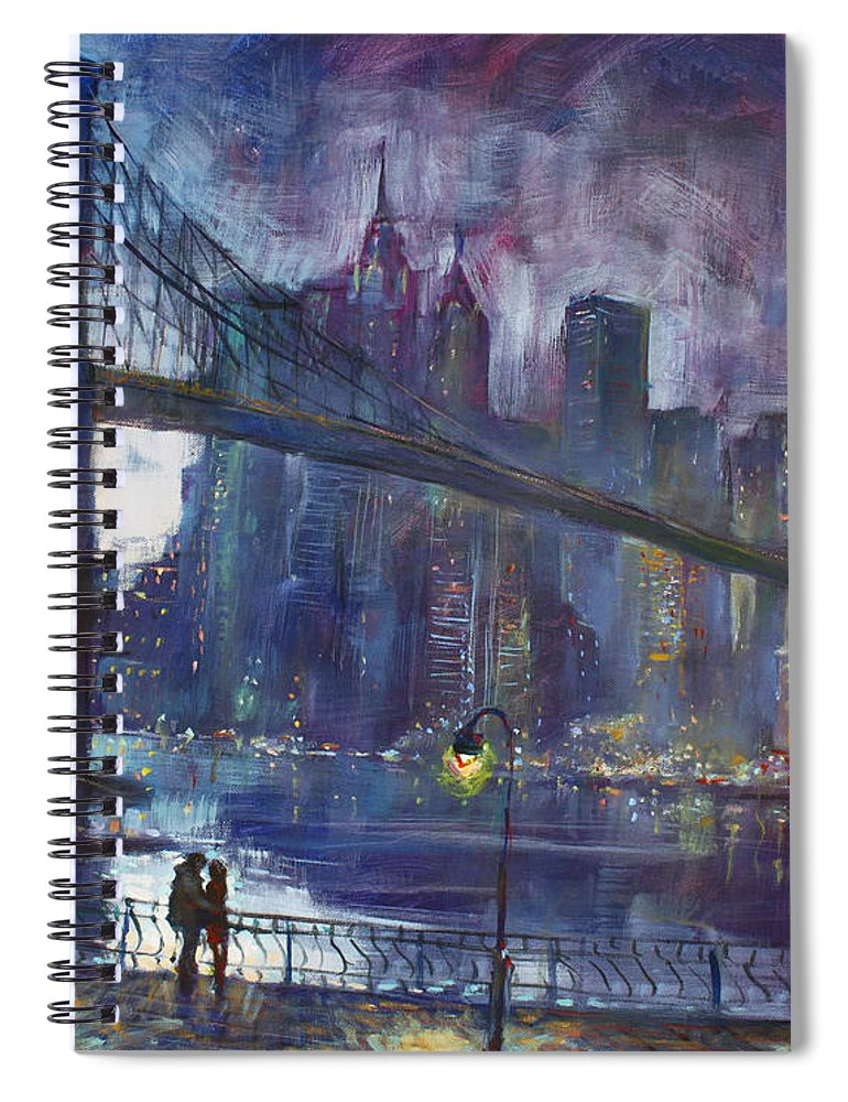 Brooklyn Bridge Spiral Notebook featuring the painting Romance by East River NYC by Ylli Haruni