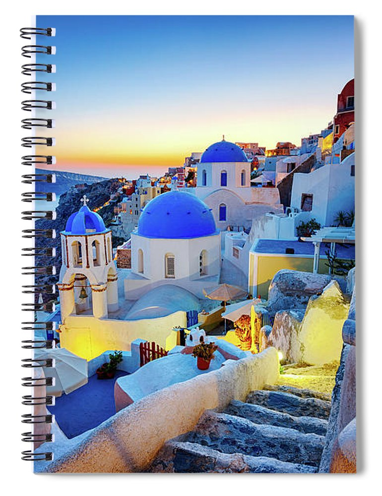 Greek Culture Spiral Notebook featuring the photograph Romantic Travel Destination Oia by Mbbirdy