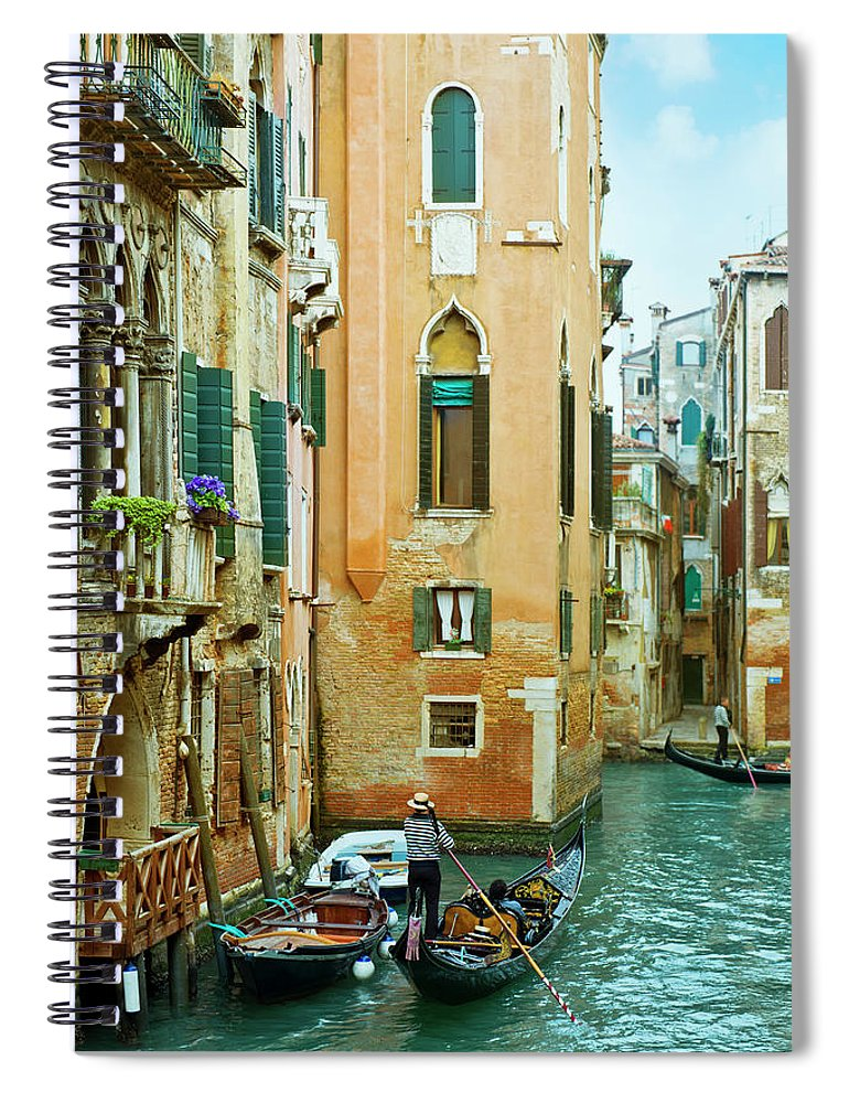 Heterosexual Couple Spiral Notebook featuring the photograph Romantic Venice Views From Gondola by Caracterdesign