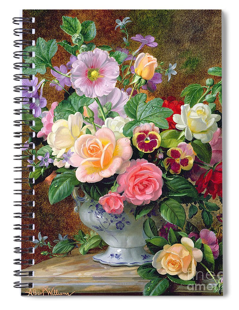 Roses Pansies And Other Flowers In A Vase Spiral Notebook For Sale