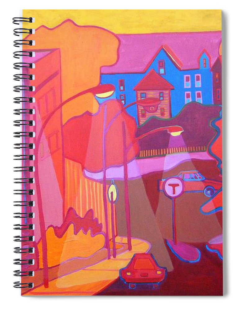 Cityscape Spiral Notebook featuring the painting Roslindale Never Looked so Red by Debra Bretton Robinson