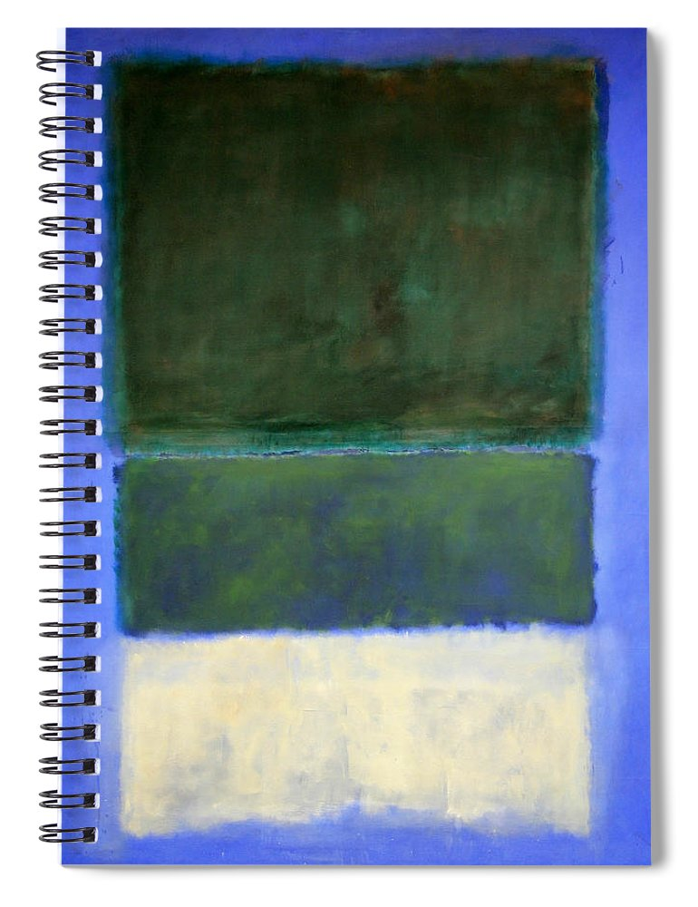 No. 14 Spiral Notebook featuring the photograph Rothko's No. 14 -- White And Greens In Blue by Cora Wandel