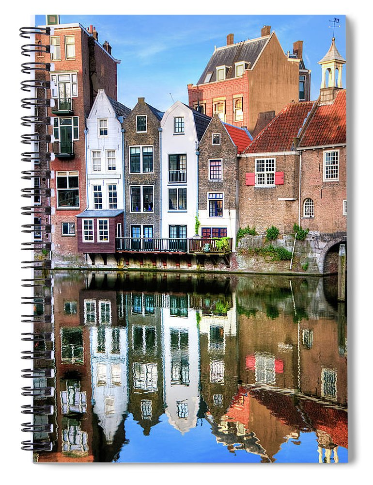 Dawn Spiral Notebook featuring the photograph Rotterdams Delfshaven With His Historic by Aleksandargeorgiev