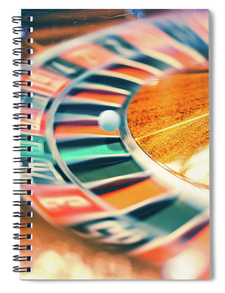 Risk Spiral Notebook featuring the photograph Roulette Wheel In Motion by Deimagine