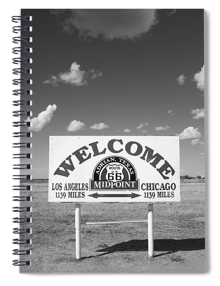 66 Spiral Notebook featuring the photograph Route 66 - Midpoint Sign by Frank Romeo