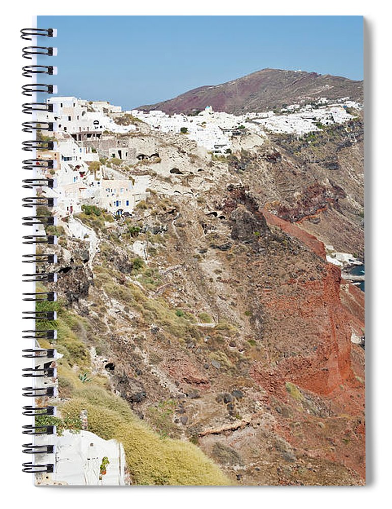 Tranquility Spiral Notebook featuring the photograph Rows Of Houses Perch On Cliff In Oia by Melissa Tse