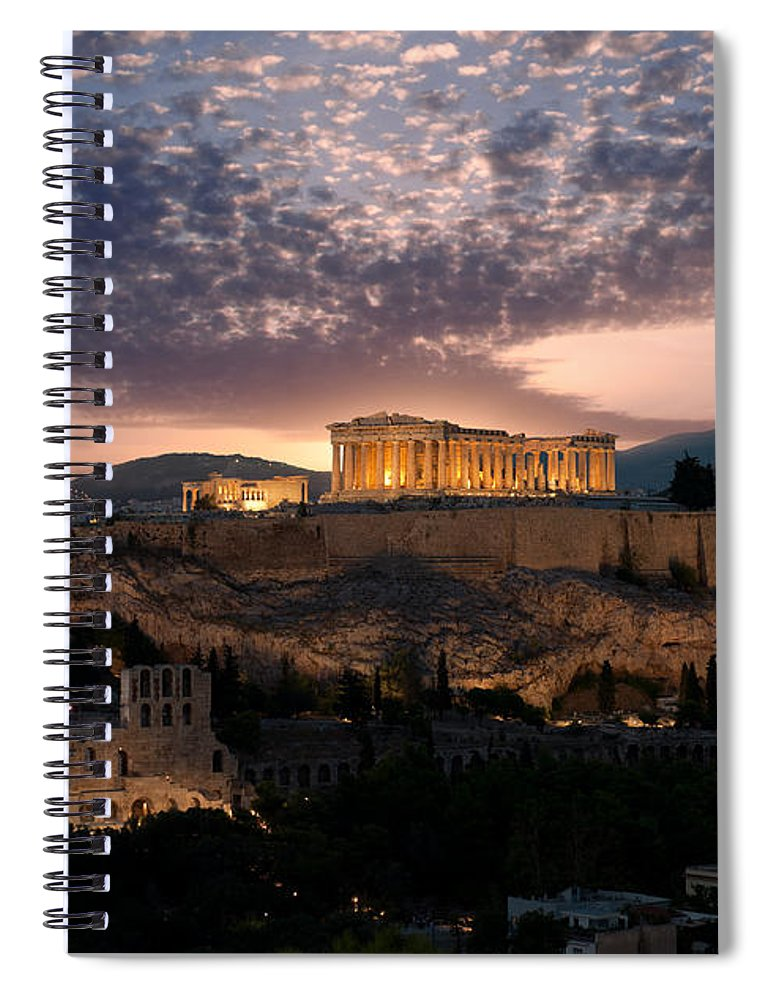 Photography Spiral Notebook featuring the photograph Ruins Of A Temple, Athens, Attica by Panoramic Images