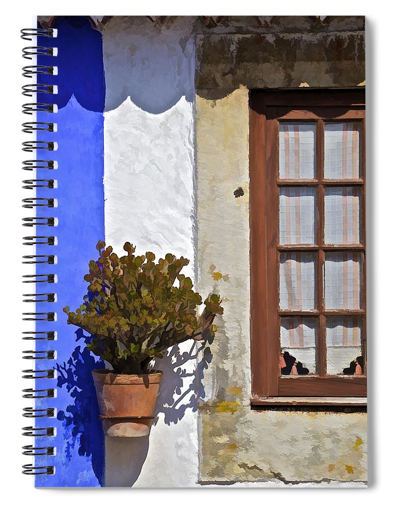 Artistic Spiral Notebook featuring the photograph Rustic Brown Window Of The Medieval Village Of Obidos by David Letts