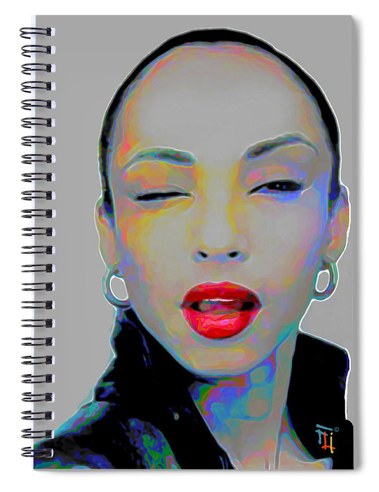 Sade Spiral Notebook featuring the painting Sade 3 by Fli Art