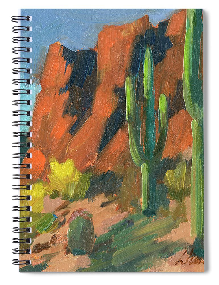 Saguaro Cactus Spiral Notebook featuring the painting Saguaro Cactus 1 by Diane McClary