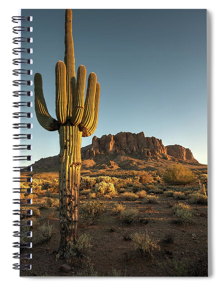 Saguaro Cactus Spiral Notebook featuring the photograph Saguaro Cactus And Superstition by Kjschoen