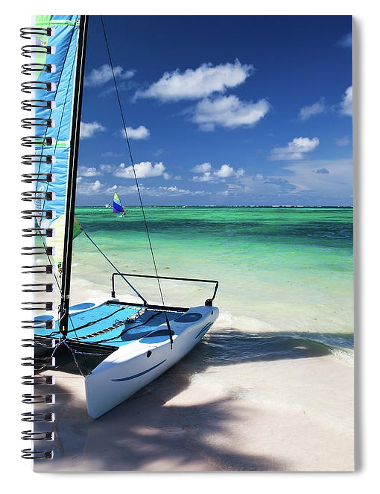 Wind Spiral Notebook featuring the photograph Sailboat At Caribbean Sea by Danilovi